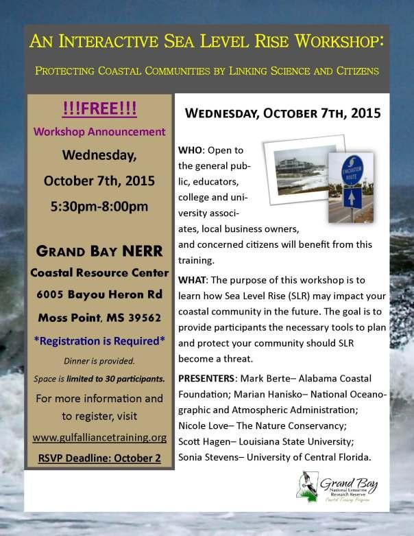 Grand Bay NERR October 7 SLR Workshop Flyer